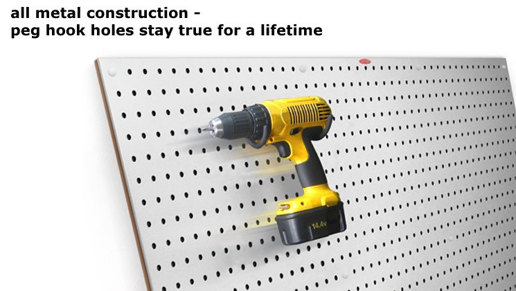 All Metal Construction - Peg Hook Holes Stay True for a Lifetime