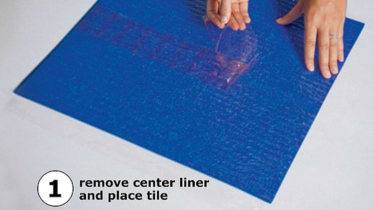 1. Remove center liner and place tile