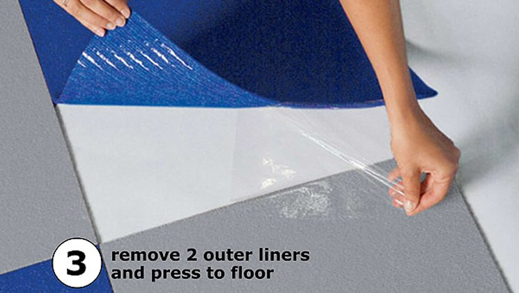 3. Remove 2 outer liners and press to floor